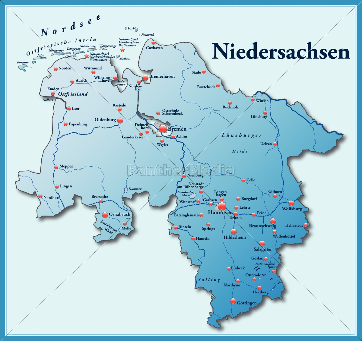 Niedersachsen Karte Mit Städten.Lizenzfreie Vektorgrafik 10635175 Karte Von Niedersachsen Als übersichtskarte In Blau