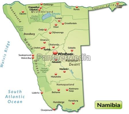 inselkarte von namibia als UEbersichtskarte in