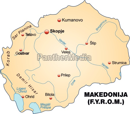 karte von mazedonien als UEbersichtskarte in