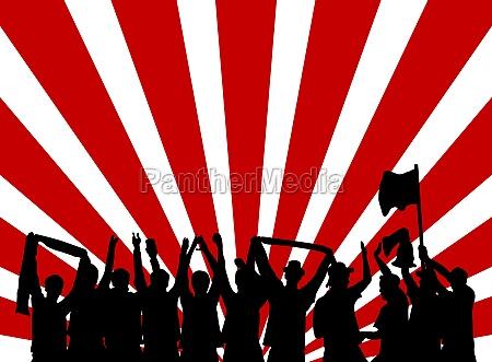 silhouette silhoutte schattenbild jubel fans fan