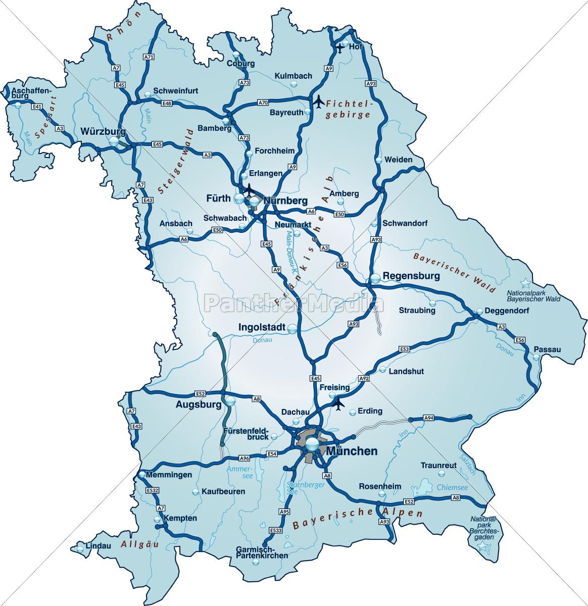Karte Bayern.Lizenzfreie Vektorgrafik 10638827 Karte Von Bayern Mit Verkehrsnetz In Blau