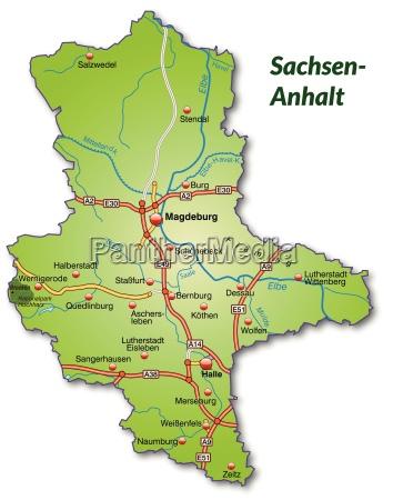 karte von sachsen anhalt mit verkehrsnetz