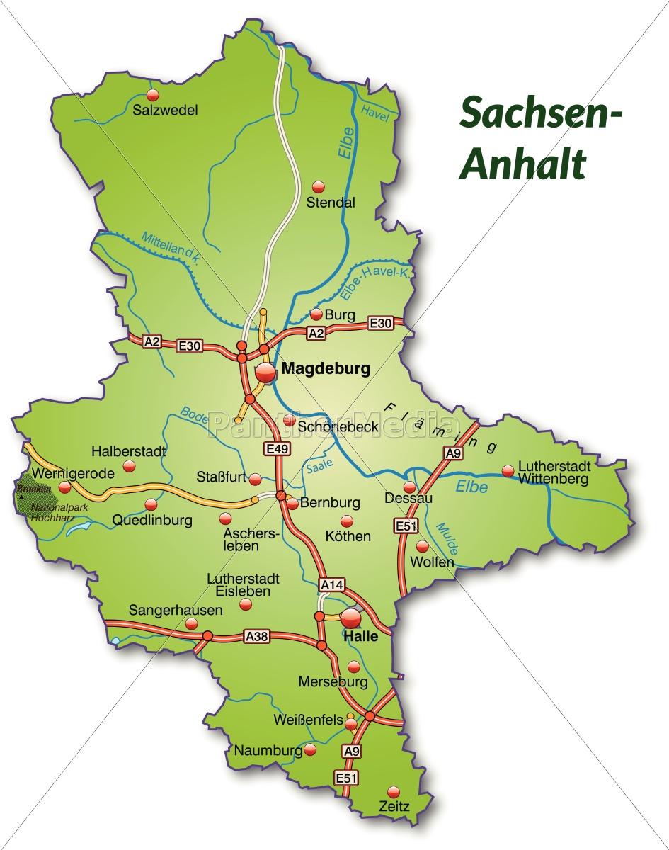 karte sachsen anhalt Karte von Sachsen Anhalt mit Verkehrsnetz   Stockfoto   #10638987  karte sachsen anhalt