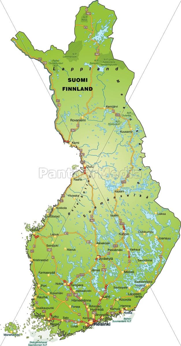 Karte Von Finnland Mit Verkehrsnetz Lizenzfreies Bild