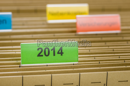 haengemappen mit der beschriftung 2014