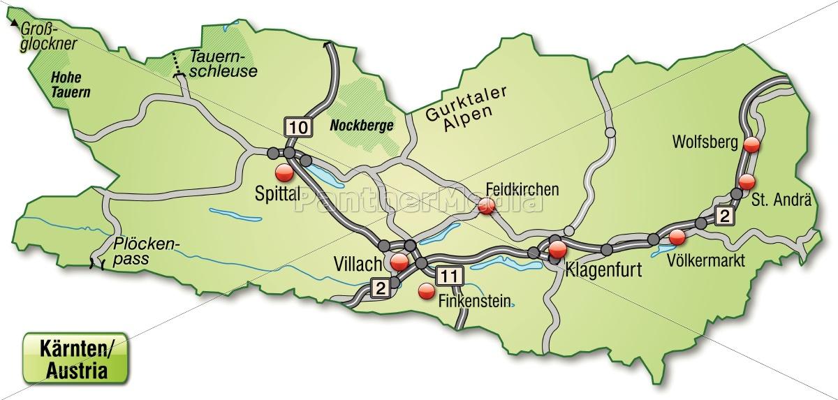 Karte Von Kaernten Mit Verkehrsnetz In Pastellgrun Stockfoto