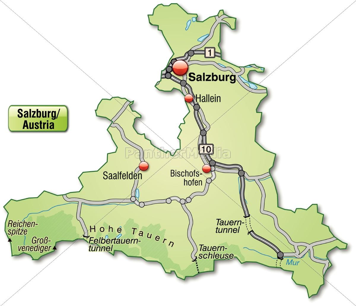 Karte Von Salzburg Mit Verkehrsnetz In Pastellgrun Lizenzfreies