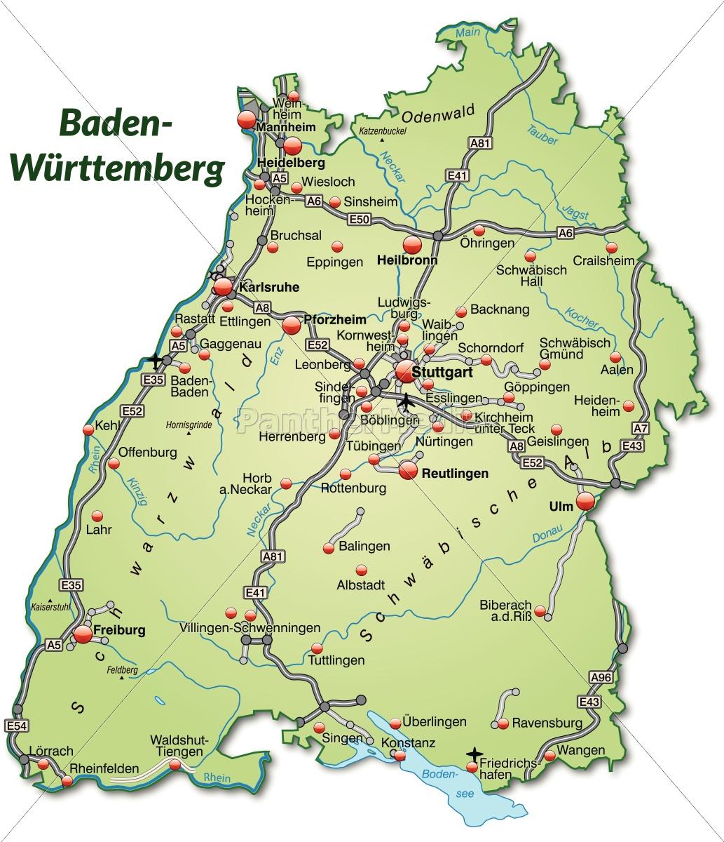 Karte Von Baden Wuerttemberg Mit Verkehrsnetz In Stockfoto