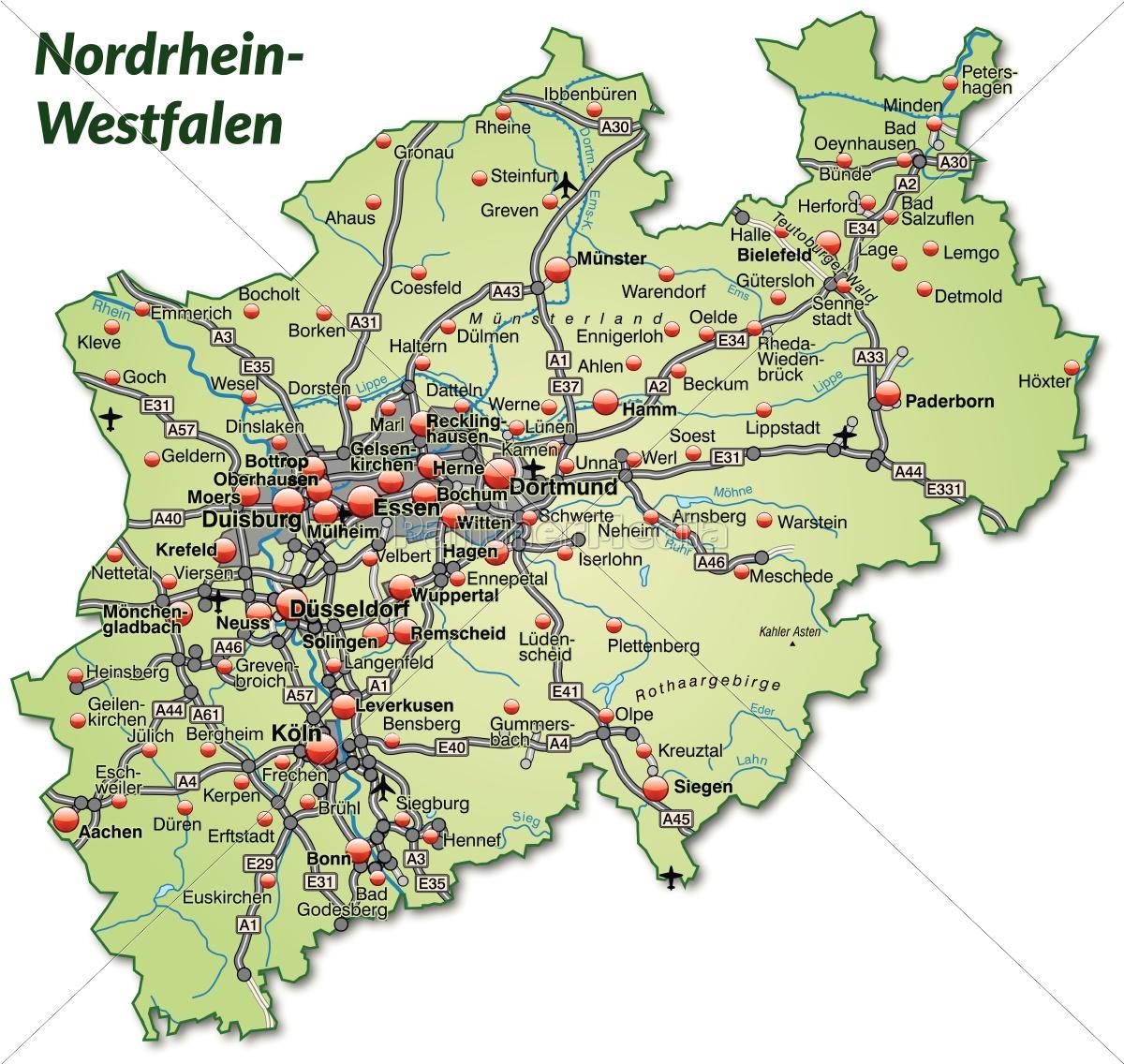 Karte Von Nrw.Lizenzfreie Vektorgrafik 10640321 Karte Von Nordrhein Westfalen Mit Verkehrsnetz In Pastellgrün