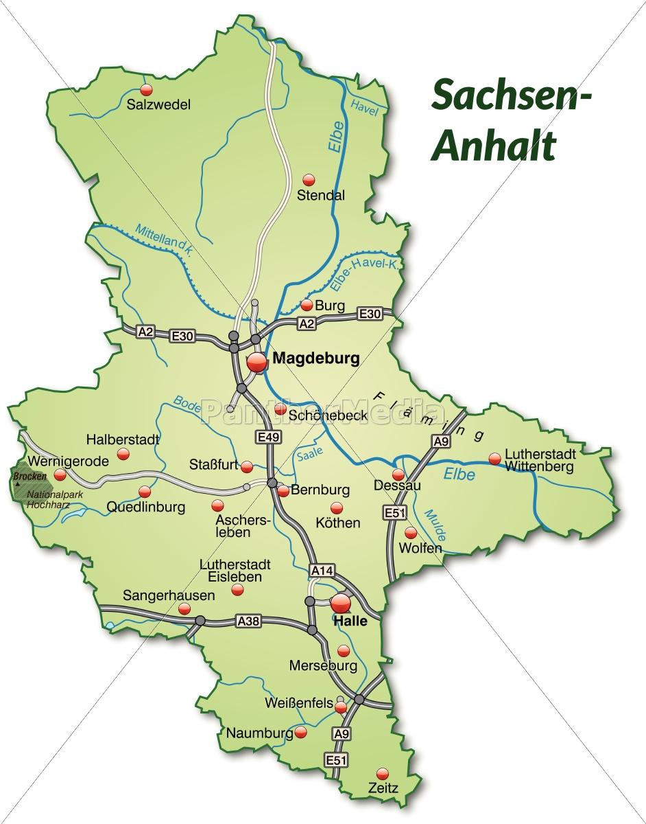 Karte Sachsen Anhalt Mit Flüssen.Lizenzfreie Vektorgrafik 10640325 Karte Von Sachsen Anhalt Mit Verkehrsnetz In Pastellgrün