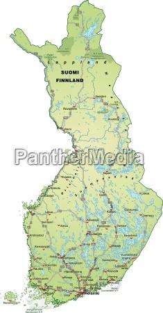 karte von finnland mit verkehrsnetz