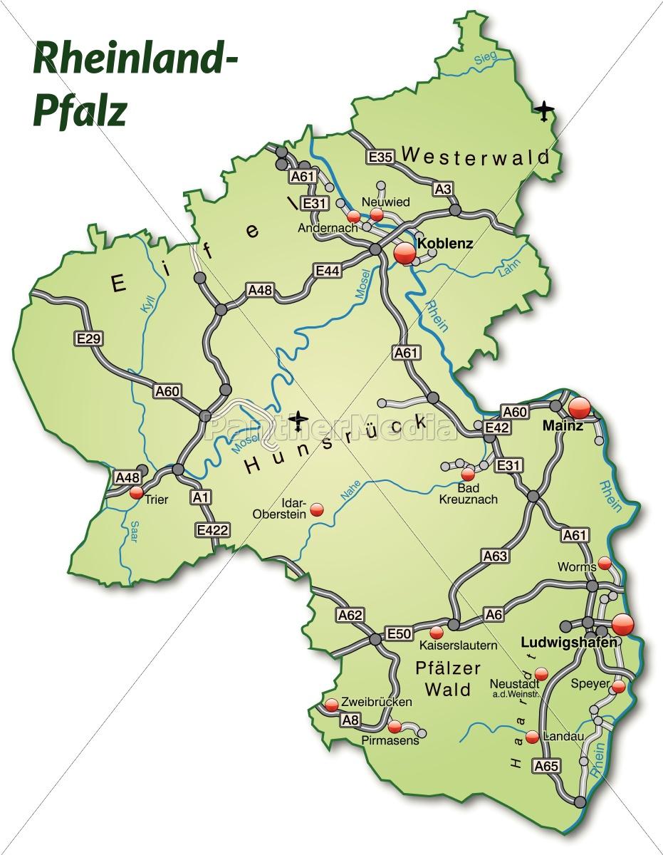 karte von rheinland pfalz Karte von Rheinland Pfalz mit Verkehrsnetz in   Lizenzfreies Bild