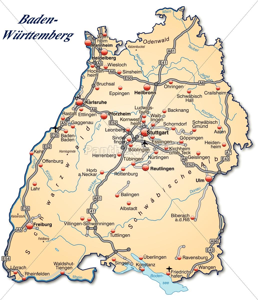 Baden Württemberg Karte.Lizenzfreie Vektorgrafik 10641073 Karte Von Baden Wuerttemberg Mit Verkehrsnetz In Pastellorange