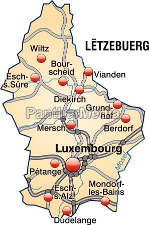 karte von luxemburg mit verkehrsnetz