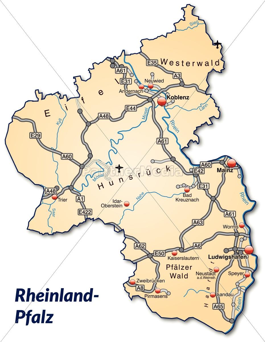 karte von rheinland pfalz Karte von Rheinland Pfalz mit Verkehrsnetz in   Lizenzfreies Bild  karte von rheinland pfalz