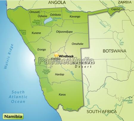umgebungskarte von namibia mit grenzen in