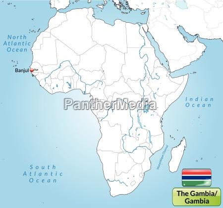umgebungskarte von gambia mit hauptstaedten in