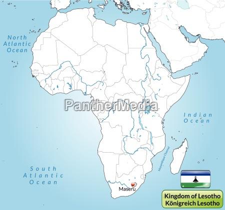 umgebungskarte von lesotho mit hauptstaedten in
