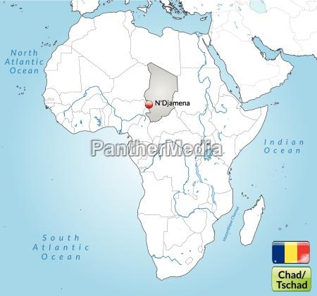 umgebungskarte von tschad mit hauptstaedten in