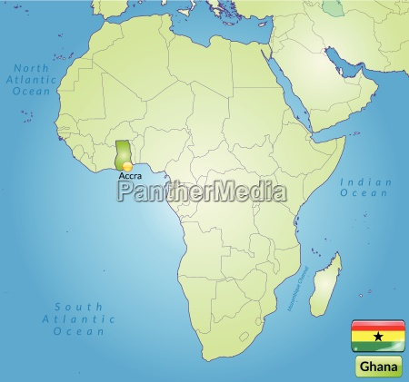 umgebungskarte von ghana mit hauptstaedten in