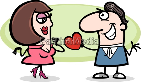couple in love cartoon illustration