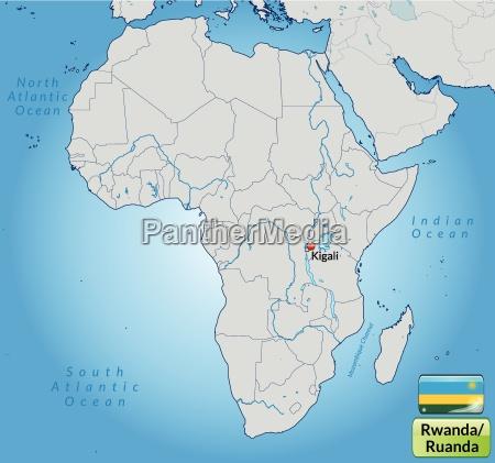umgebungskarte von ruanda mit hauptstaedten in
