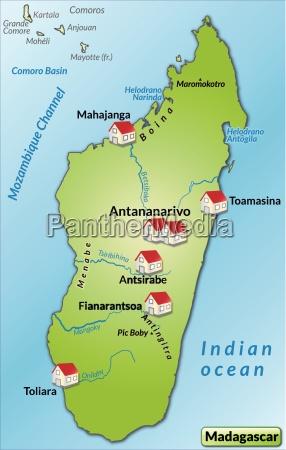 karte von madagaskar als infografik in