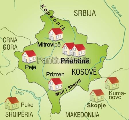karte von kosovo als infografik in