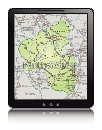 karte von rheinland pfalz als navigationsgeraet