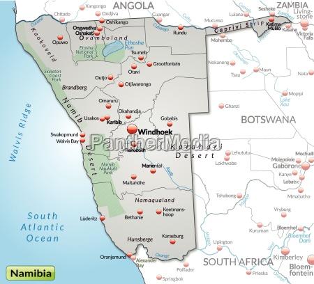 umgebungskarte von namibia als UEbersichtskarte in