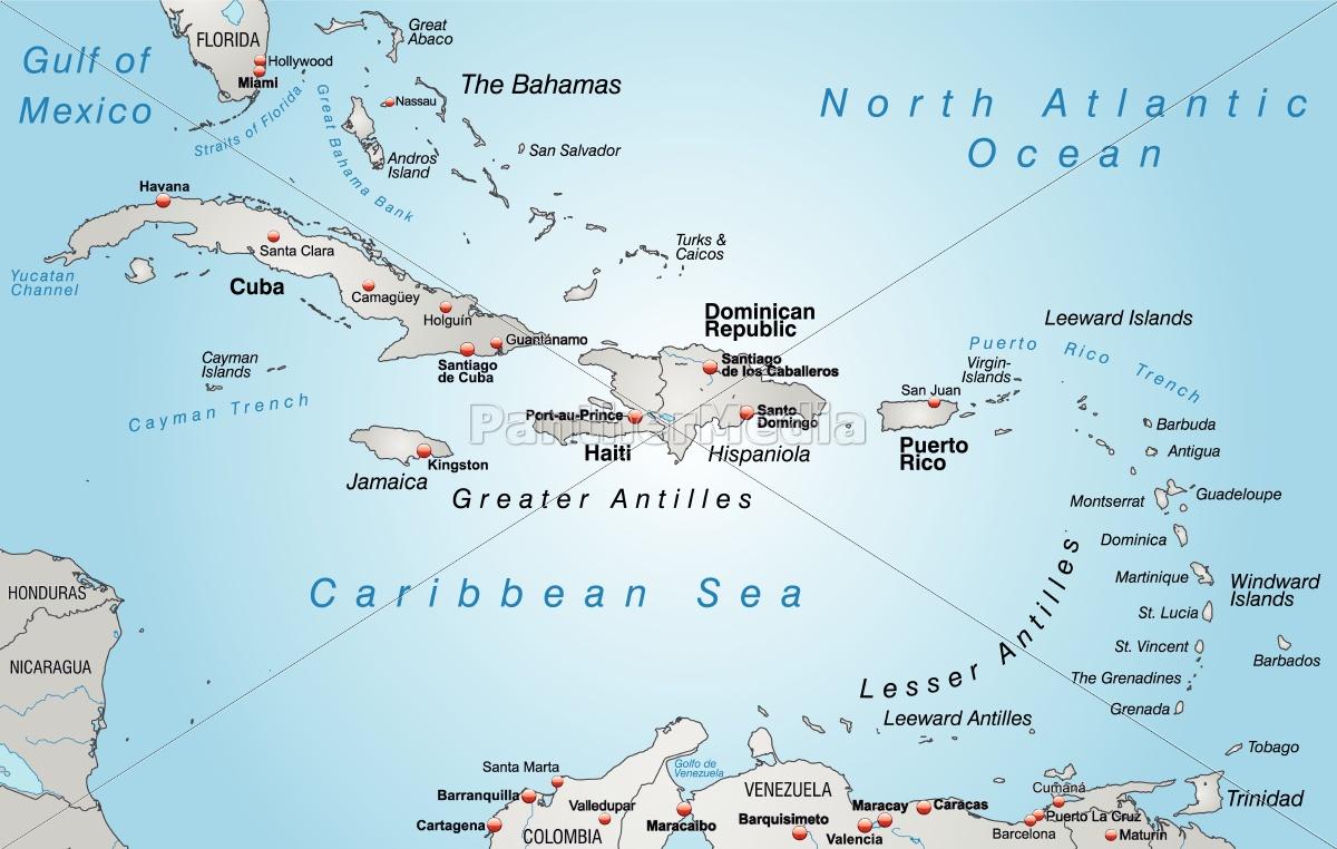 Kleine Antillen Karte.Lizenzfreie Vektorgrafik 10655059 Karte Von Antillen Als Ubersichtskarte In Grau