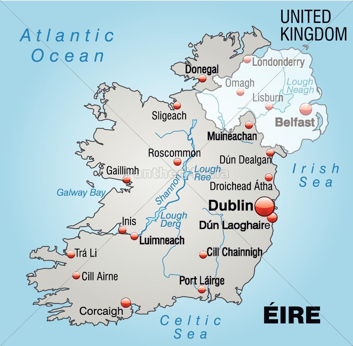 Irland Karte.Lizenzfreie Vektorgrafik 10655131 Karte Von Irland Als Ubersichtskarte In Grau