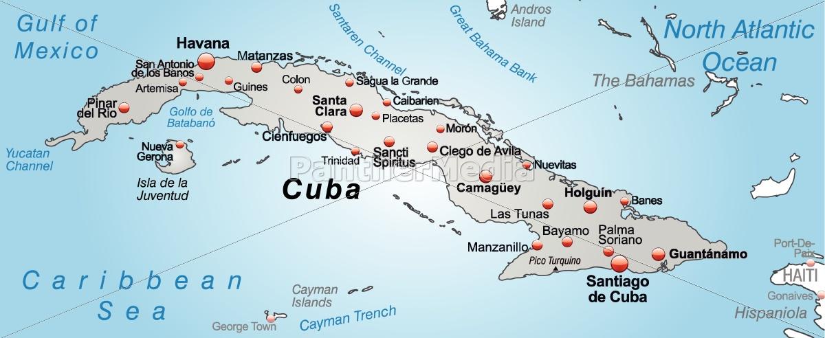 Karte Kuba.Lizenzfreie Vektorgrafik 10655229 Karte Von Kuba Als übersichtskarte In Grau