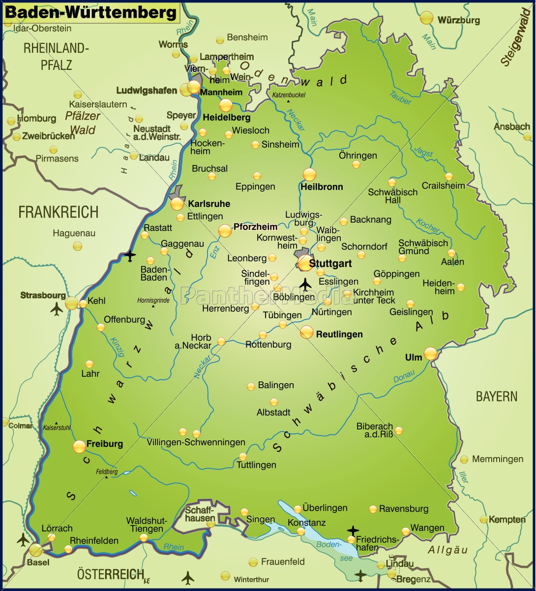 Karte Von Baden Wuerttemberg Als Ubersichtskarte In Lizenzfreies