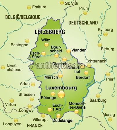 karte von luxemburg als UEbersichtskarte in