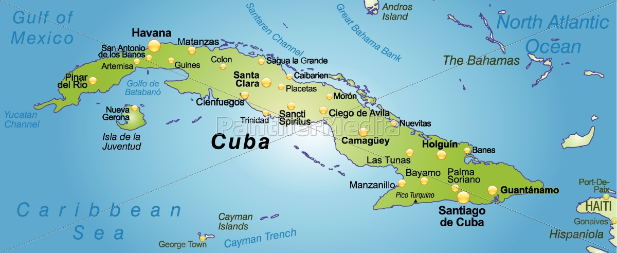 Karte Kuba.Lizenzfreie Vektorgrafik 10656185 Karte Von Kuba Als übersichtskarte In Grün