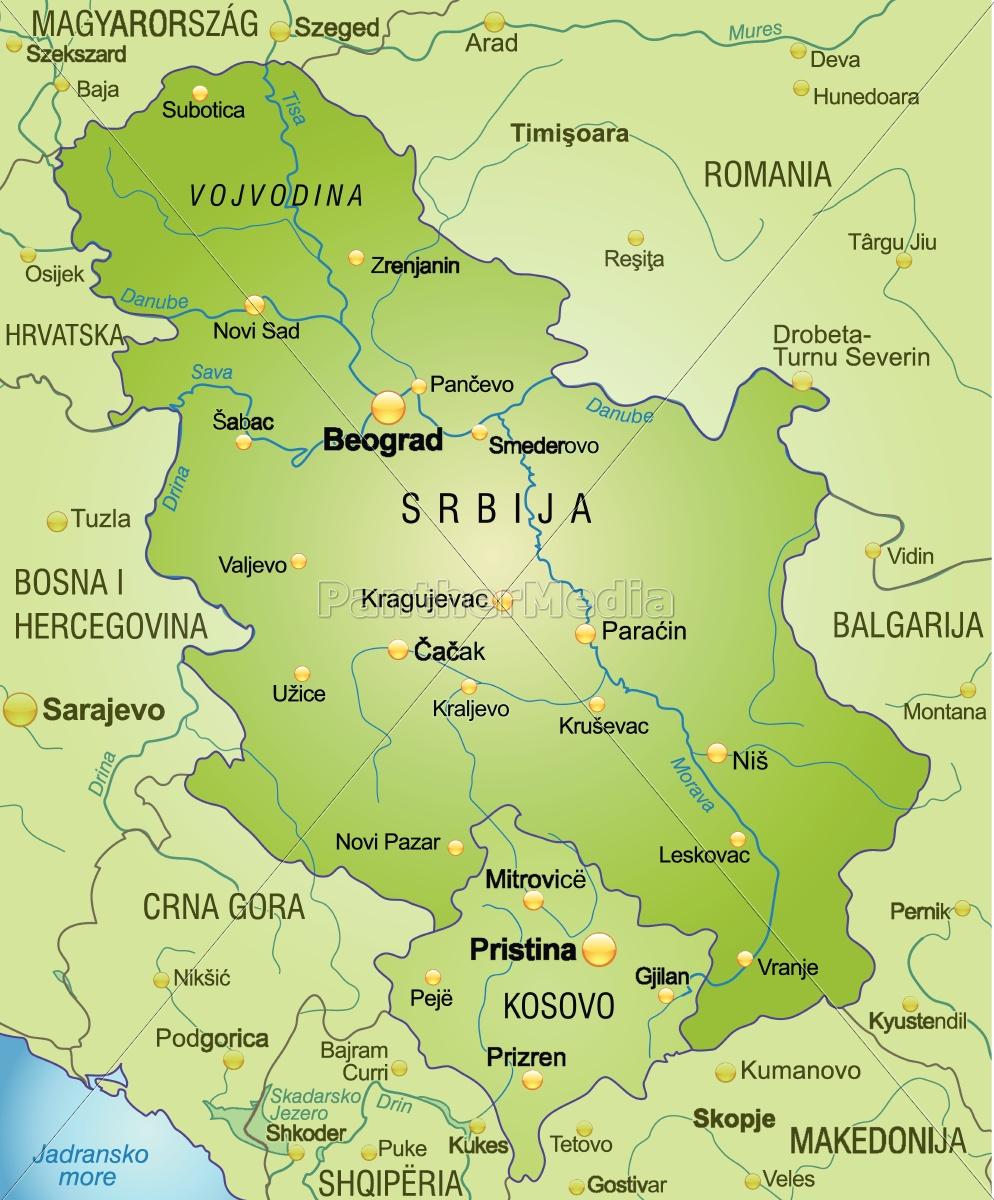 Karte Von Serbien Als Ubersichtskarte In Grun Lizenzfreies Bild