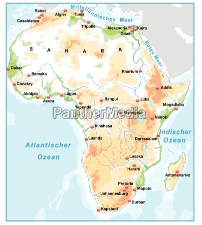karte von afrika als UEbersichtskarte mit