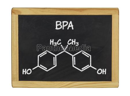 chemische strukturformel von bpa auf einer