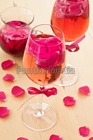 cocktail with fresh rose petals