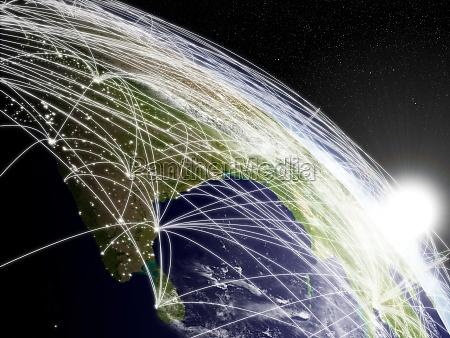 sonnenaufgang ueber indien mit netzwerk