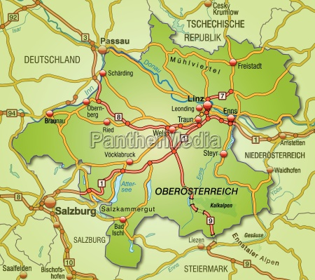 karte von oberoestereich mit verkehrsnetz