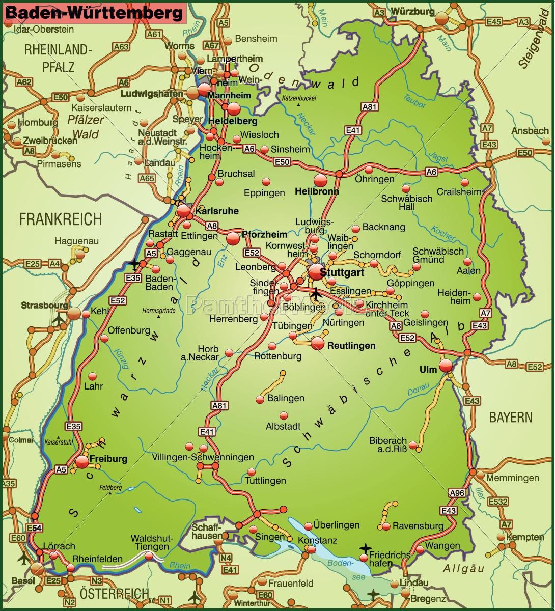 Baden Württemberg Karte.Lizenzfreie Vektorgrafik 10689123 Karte Von Baden Wuerttemberg Mit Verkehrsnetz
