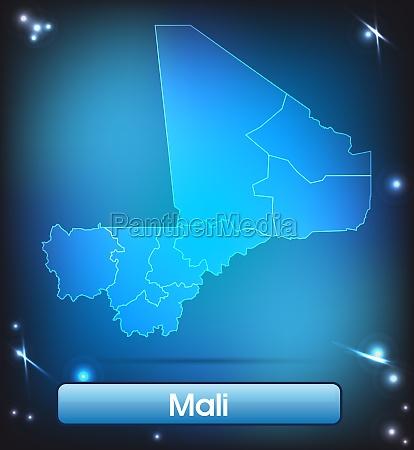 karte von mali mit grenzen in