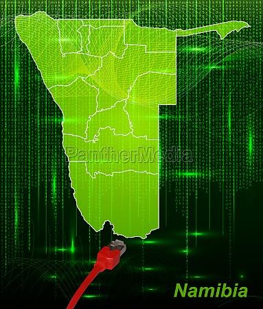 karte von namibia mit grenzen im
