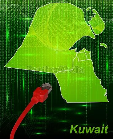 karte von kuwait mit grenzen im