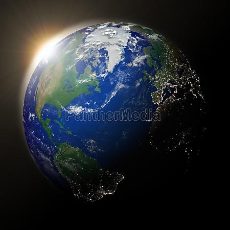 sun ueber nordamerika auf dem planeten