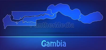 karte von gambia mit grenzen als