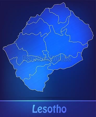 karte von lesotho mit grenzen als