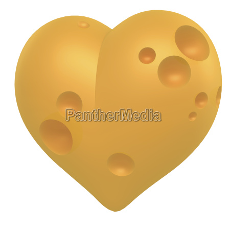 cheese heart 3d rendering on white
